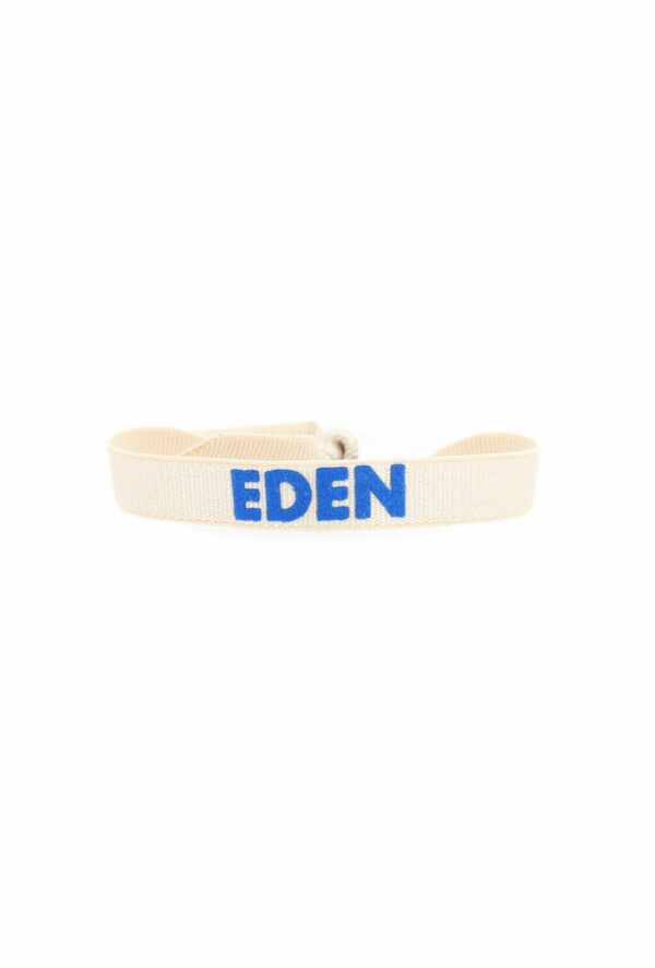 bracelet stretch unisexe ajustable et waterproof Eden creme et bleu- unisexe - bijou ajustable et waterproof