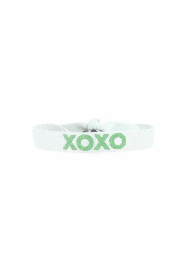 bracelet stretch unisexe ajustable et waterproof xoxo gris et vert