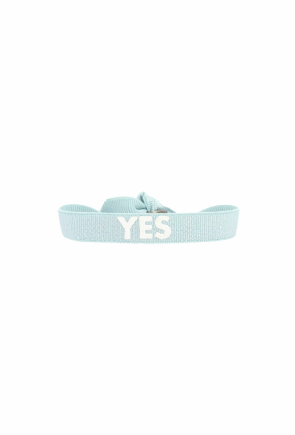 bracelet stretch unisexe ajustable et waterproof yes bleu et blanc