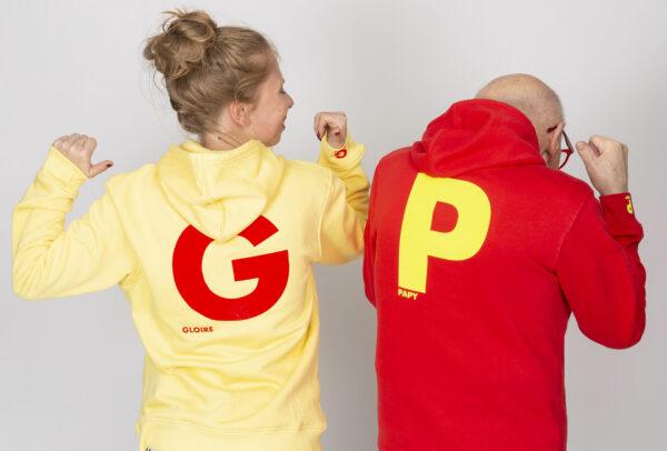 Sweat à capuche personnalisable à Message Gloire et papy - Pour Homme et pour Femme