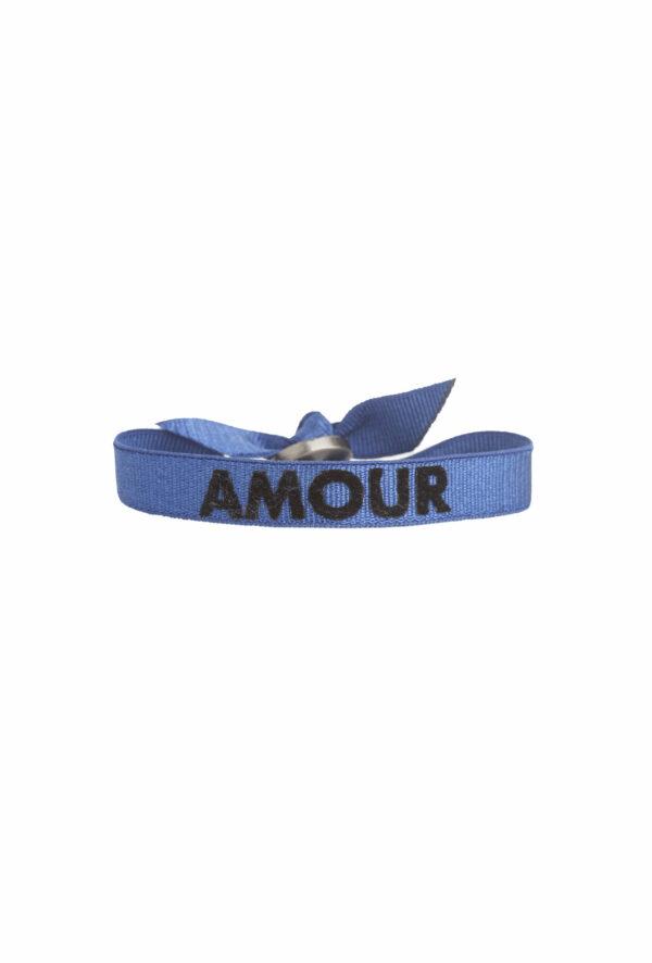 braclet stretch unisexe, ajustable et waterproof - taille unique - message Amour bleu et noir