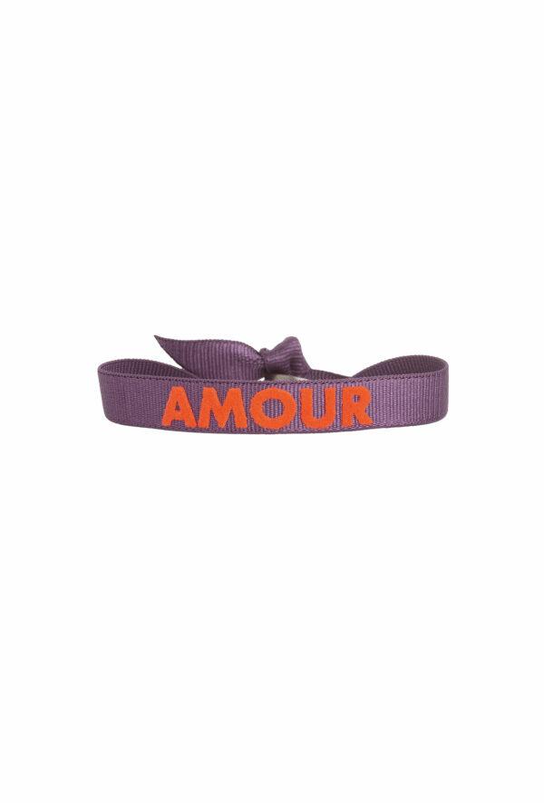 braclet stretch unisexe, ajustable et waterproof - taille unique - message Amour violet et orange