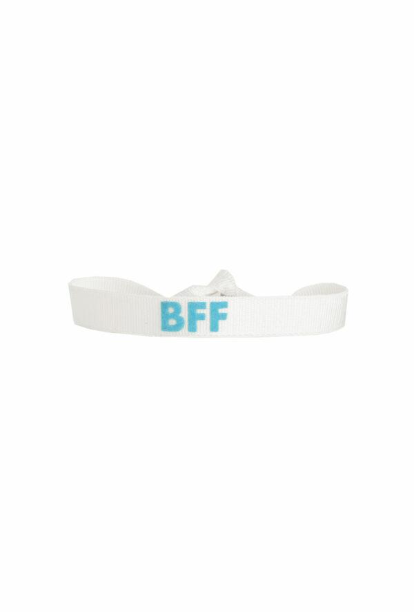 braclet stretch unisexe, ajustable et waterproof - taille unique - message BFF blanc et turquoiseo