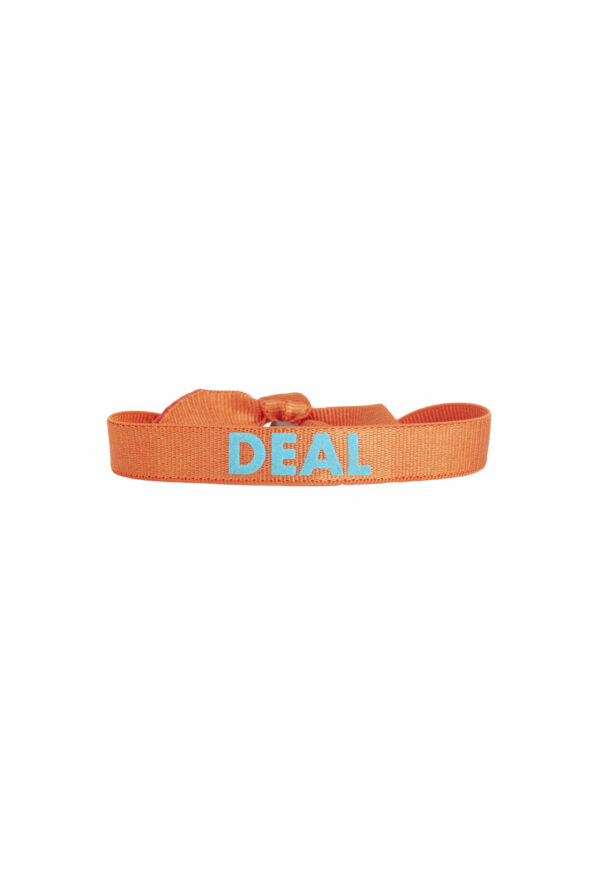 braclet stretch unisexe, ajustable et waterproof - taille unique - message Deal orange et turquoise
