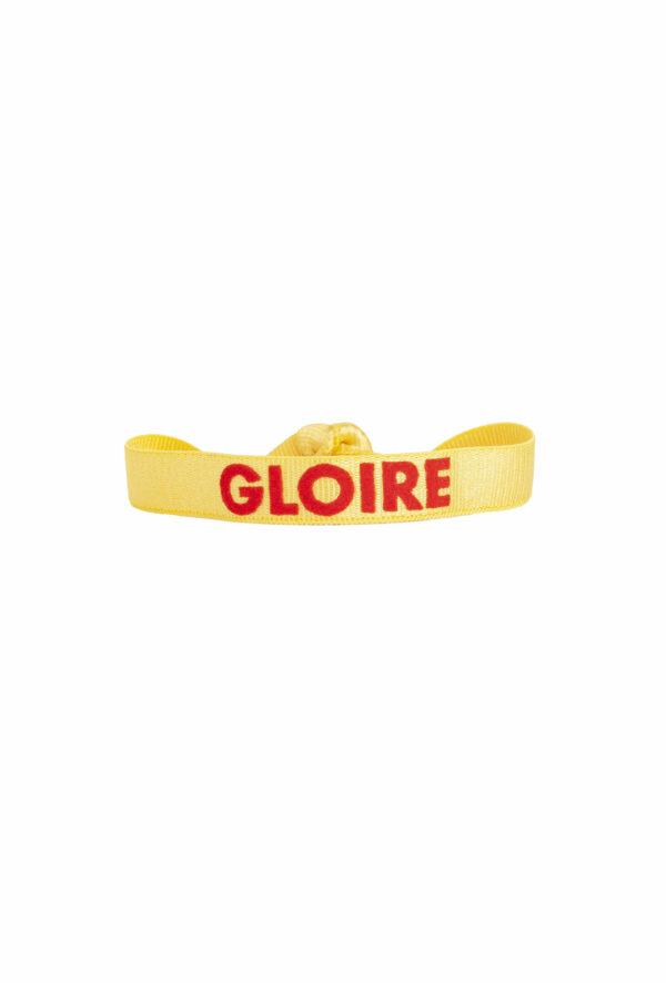 braclet stretch unisexe, ajustable et waterproof - taille unique - message gloire jaune et rouge