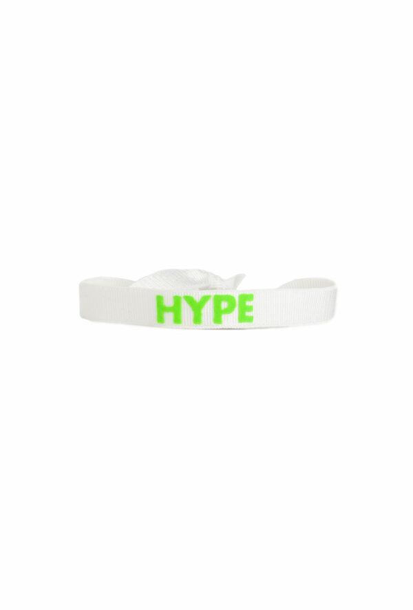 braclet stretch unisexe, ajustable et waterproof - taille unique - messagehype blanc et vert fluo