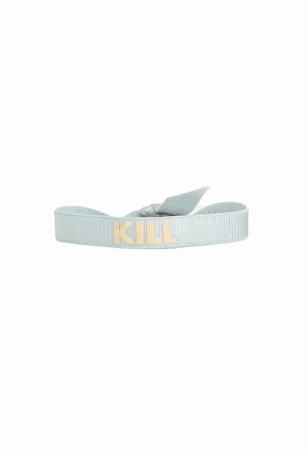braclet stretch unisexe, ajustable et waterproof - taille unique - message Kill bleu et beige