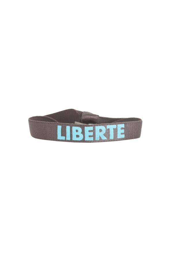 braclet stretch unisexe, ajustable et waterproof - taille unique - message liberté marron et bleu