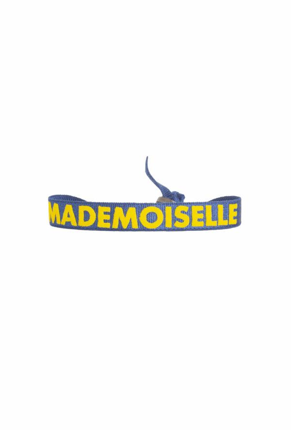 braclet stretch unisexe, ajustable et waterproof - taille unique - message mademoiselle bleu et jaune