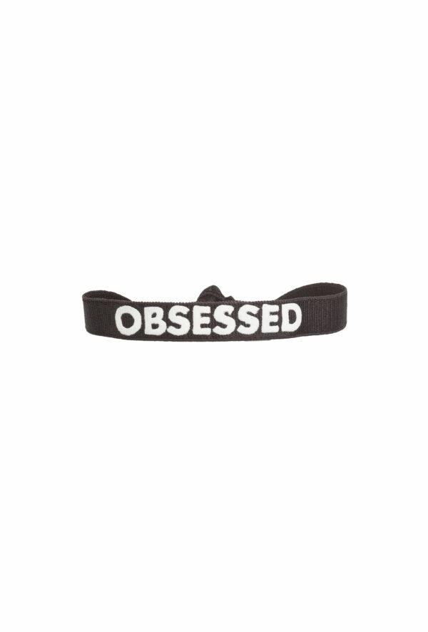 braclet stretch unisexe, ajustable et waterproof - taille unique - message OBSESSED noir et blanc
