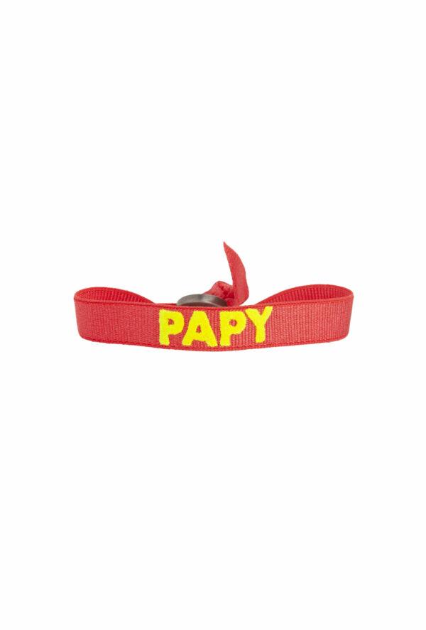 braclet stretch unisexe, ajustable et waterproof - taille unique - message papy rouge et jaune