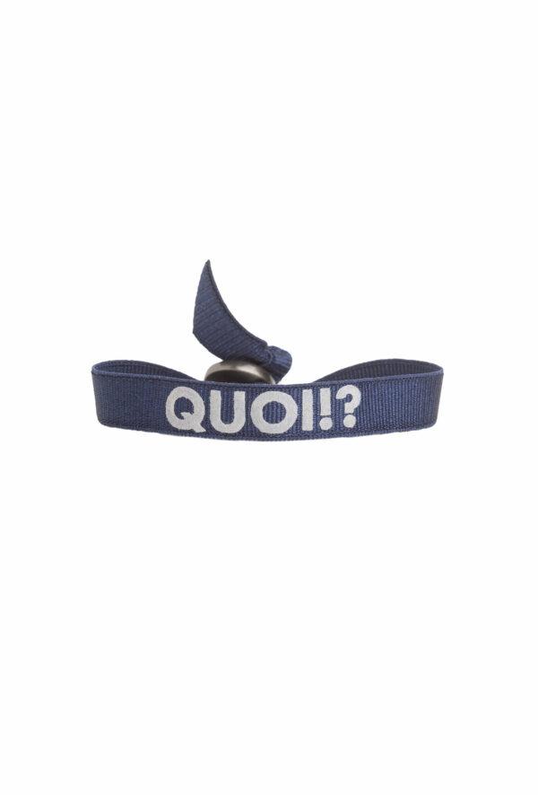 braclet stretch unisexe, ajustable et waterproof - taille unique - message quoi marine et gris