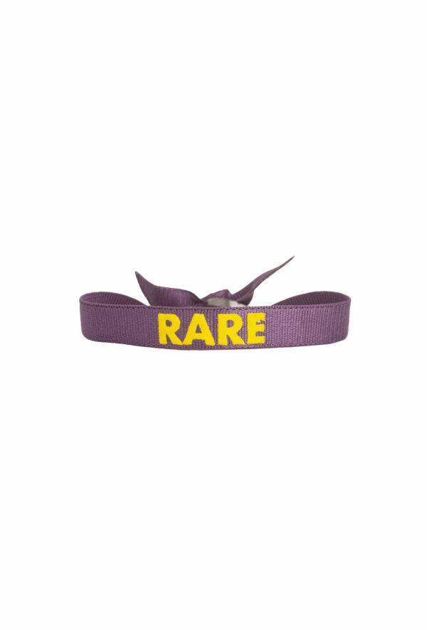 braclet stretch unisexe, ajustable et waterproof - taille unique - message rare violet et jaune
