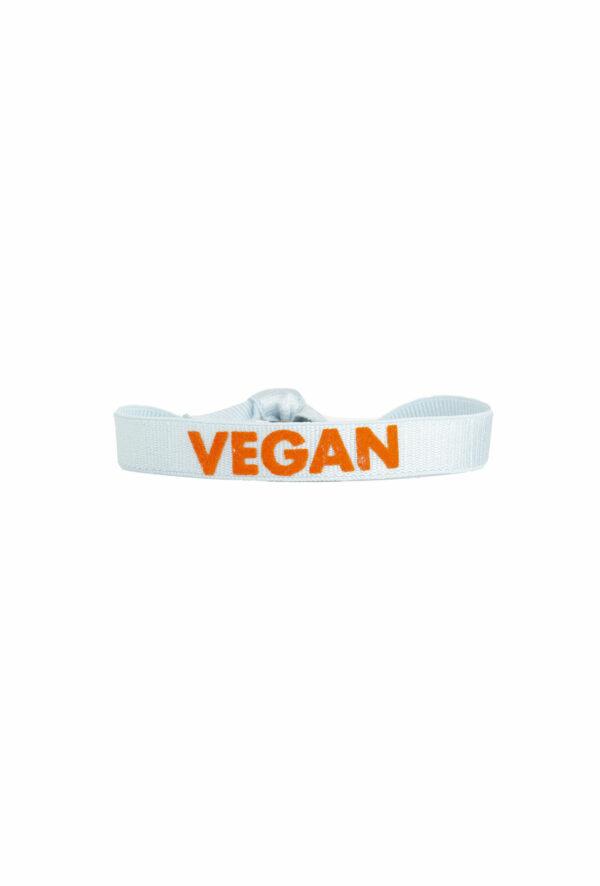 braclet stretch unisexe, ajustable et waterproof - taille unique - message vegan bleu ciel et orange