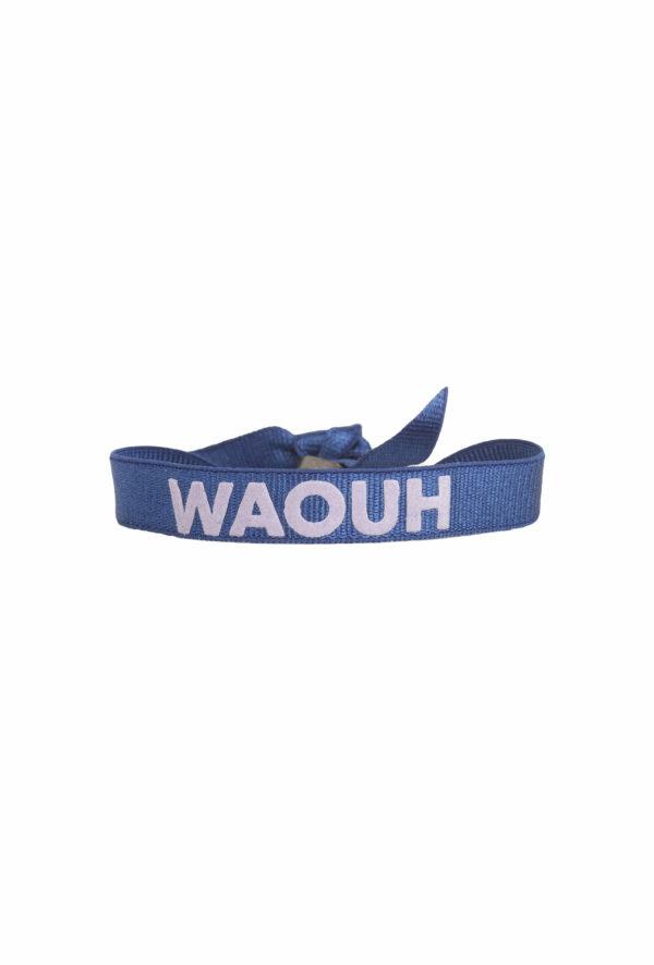 braclet stretch unisexe, ajustable et waterproof - taille unique - message waouh bleu et parme