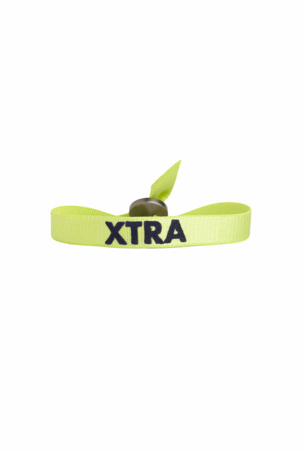 braclet stretch unisexe, ajustable et waterproof - taille unique - message xtra (extra) vert et bleu