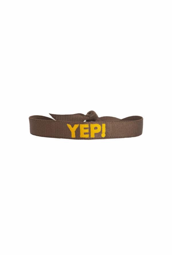 braclet stretch unisexe, ajustable et waterproof - taille unique - message yep marron et jaune