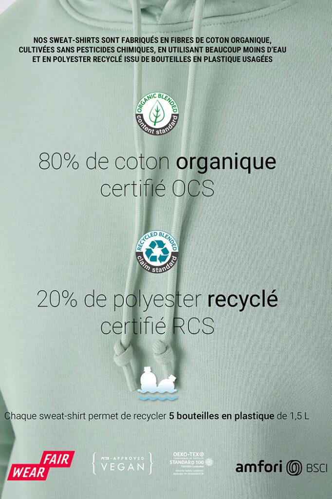 composition sweat personnalisable LI, coton organique, vegan, sublimés en France